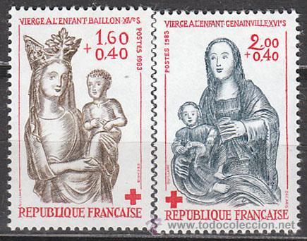 FRANCIA IVERT Nº 2295/6, PRO CRUZ ROJA 1983: ESCULTURAS DE MADERA POLICROMADA, NUEVOS (Sellos - Temáticas - Cruz Roja)