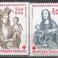 Sellos: FRANCIA IVERT Nº 2295/6, PRO CRUZ ROJA 1983: ESCULTURAS DE MADERA POLICROMADA, NUEVOS. Lote 17764136