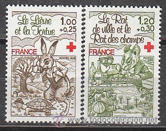 FRANCIA IVERT Nº 2024/5, PRO CRUZ ROJA: FABULAS DE LA FONTAINE (LA LIEBRE Y LA ORTUGA ..., NUEVO *** (Sellos - Temáticas - Cruz Roja)