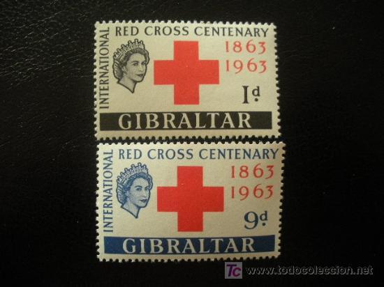 GIBRALTAR 1963 IVERT 160/1 *** CENTENARIO CRUZ ROJA INTERNACIONAL (Sellos - Temáticas - Cruz Roja)
