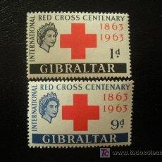 Sellos: GIBRALTAR 1963 IVERT 160/1 *** CENTENARIO CRUZ ROJA INTERNACIONAL. Lote 19712294