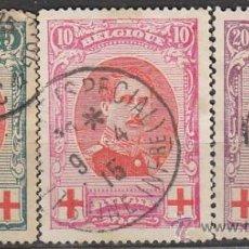 Sellos: BELGICA IVERT Nº 132/4 (AÑO 1914), CRUZ ROJA, EL REY ALBERTO I, USADOS. Lote 25920687