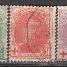 Sellos: BELGICA IVERT Nº 129/31 (AÑO 1914), CRUZ ROJA, EL REY ALBERTO I, USADOS. Lote 25920691