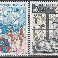 Sellos: FRANCIA IVERT Nº 1828/9, EN BENEFICIO DE LA CRUZ ROJA, LAS ESTACIONES, NUEVO. Lote 19581760