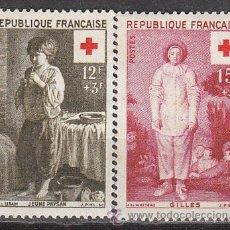 Sellos: FRANCIA IVERT 1089/90, CRUZ ROJA 1956 (CUADROS DE LE NAIN Y WATEAU), NUEVOS SIN SEÑAL DE CHARNELA. Lote 25747585