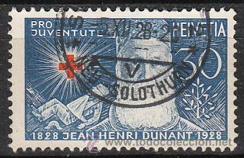 SUIZA IVERT 234, PRO JUVENTUTE 1928, CENTENARIO DE DUNANT, FUNDADOR DE LA CRUZ ROJA, USADO (Sellos - Temáticas - Cruz Roja)