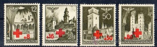 GOBIERNO GENERAL AÑO 1940 YV 68/71*** OCUPACIÓN DE POLONIA POR EL III REICH DE ALEMANIA - CRUZ ROJA (Sellos - Temáticas - Cruz Roja)