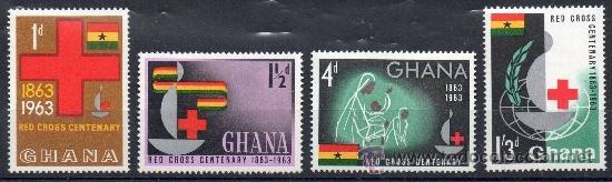 GHANA AÑO 1963 YV 131/34*** CENTº DE LA CRUZ ROJA - SALUD - BANDERAS (Sellos - Temáticas - Cruz Roja)