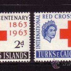 Sellos: TURKS & CAICOS 180/81*** - AÑO 1963 - CENTENARIO DE LA CRUZ ROJA INTERNACIONAL. Lote 108854900