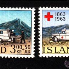 Sellos: ISLANDIA 330/31** - AÑO 1963 - CENTENARIO DE LA CRUZ ROJA INTERNACIONAL. Lote 124635134