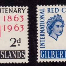 Sellos: COLONIAS BRITÁNICAS. CENTENARIO DE LA CRUZ ROJA 1863-1963. ISLAS GILBERT Y ELLICE (OCEANÍA).. Lote 95312687