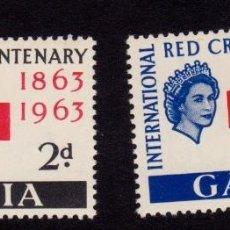Sellos: COLONIAS BRITÁNICAS. CENTENARIO DE LA CRUZ ROJA 1863-1963. GAMBIA (ÁFRICA). Lote 95314099