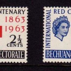 Sellos: COLONIAS BRITÁNICAS. CENTENARIO DE LA CRUZ ROJA 1863-1963. PROTECTORADO DE BECHUANALANDIA (ÁFRICA).. Lote 95314643