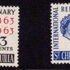 Sellos: COLONIAS BRITÁNICAS. CENTENARIO DE LA CRUZ ROJA 1863-1963. SAN CRISTOBAL NIEVES ANGUILA (CÁRIBE). Lote 95315915