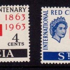 Sellos: COLONIAS BRITÁNICAS. CENTENARIO DE LA CRUZ ROJA 1863-1963. SANTA LUCIA (AMÉRICA DEL SUR. CARIBE). Lote 95316055