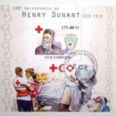 Sellos: HENRY DUNANT CRUZ ROJA ,HOJA BLOQUE DE SELLOS USADOS RECIENTES AUTÉNTICOS DE MOZAMBIQUE. Lote 95473983