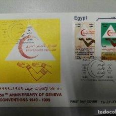 Sellos: EGIPTO. FDC 1637 +AE. 275. MEDIA LUNA ROJA. 50 ANIV. CONVENCION DE GINEBRA.. Lote 109233943