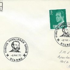 Sellos: AÑO 1980. BILBAO. MATASELLOS GURUTZ GORRIAREN EGUNA. DÍA DE LA CRUZ ROJA. CIRCULADO CERTIFICADO.. Lote 115301087