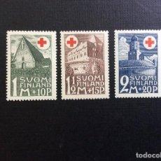 Sellos: FINLANDIA Nº YVERT 161/3*** AÑO 1931. PRO CRUZ ROJA. IGLESIA Y CASTILLOS. Lote 127886635