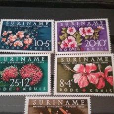 Sellos: SELLOS DE SURINAME NUEVOS. 1962. FUNDACION. CRUZ ROJA. FLORES. FLORA. PLANTAS. LORO. HIBISCO. TERESI. Lote 130661468