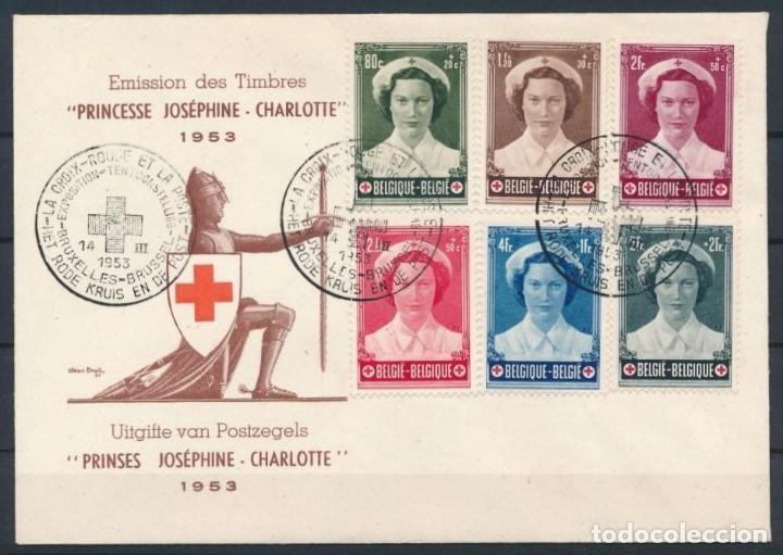 BELGICA 1953 PRINCESA JOSEPHINE CRUZ ROJA SOBRE PRIMER DÍA. (Sellos - Temáticas - Cruz Roja)