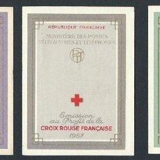 Sellos: SELLOS FRANCIA 1956 1957 1958 CRUZ ROJA 3 CARNETS COMPLETOS. Lote 138652834