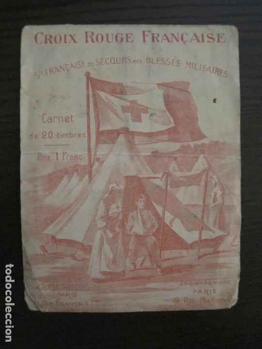 CRUZ ROJA FRANCESA-CARNET CON 5 SELLOS-HERIDOS MILITARES-VER FOTOS-(V-16.838) (Sellos - Temáticas - Cruz Roja)