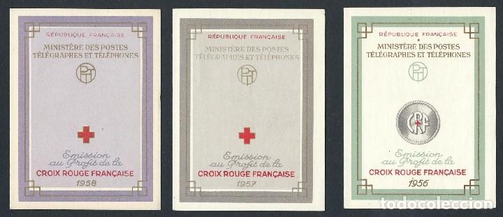 SELLOS FRANCIA 1956 1957 1958 CRUZ ROJA 3 CARNETS COMPLETOS (Sellos - Temáticas - Cruz Roja)