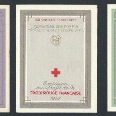 Sellos: SELLOS FRANCIA 1956 1957 1958 CRUZ ROJA 3 CARNETS COMPLETOS. Lote 178066537