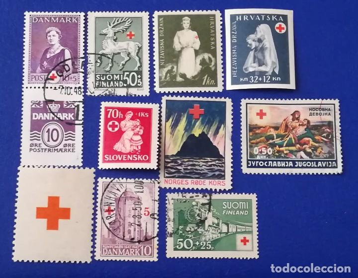 LOTE SELLOS CRUZ ROJA EXTRANJERA, DINAMARCA, FINLANDIA, CROACIA, NORUEGA, YUGOSLAVIA, SLOVAQUIA (Sellos - Temáticas - Cruz Roja)