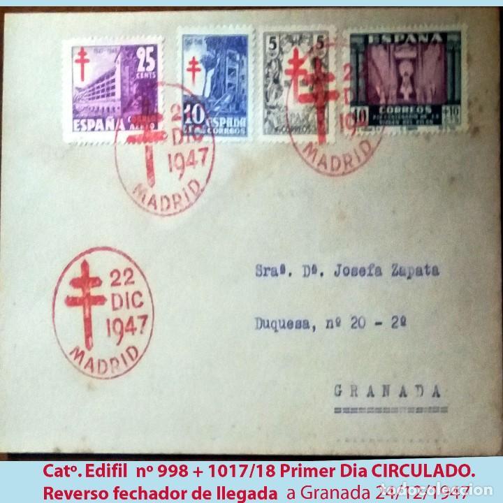 1947.SOBRE PRIMER DIA CON MAT. ROJO TEMATICA PRO TUBERCULOSOS + 2 SERIES CIRCULADO MADRID A GRANADA (Sellos - Temáticas - Cruz Roja)