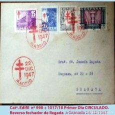 Sellos: 1947.SOBRE PRIMER DIA CON MAT. ROJO TEMATICA PRO TUBERCULOSOS + 2 SERIES CIRCULADO MADRID A GRANADA. Lote 215718502