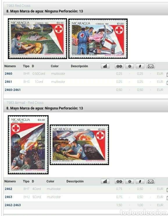 Sellos: Sellos Nicaragua mtdos/1983/cruz/roja/barca/ambulancia/incendio/uniforme/casco/simbolo/emblema/gente - Foto 2 - 221259126