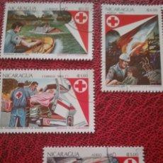 Sellos: SELLOS NICARAGUA MTDOS/1983/CRUZ/ROJA/BARCA/AMBULANCIA/INCENDIO/UNIFORME/CASCO/SIMBOLO/EMBLEMA/GENTE. Lote 221259253