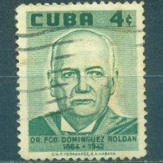 Sellos: 576 CUBA 1958 U DOCTOR FRANCISCO D. ROLDAN, PHYSIOTHERAPY PIONEER, COMMEMORATION. Lote 238900210