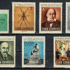 Sellos: CUBA 1965 THE 50TH ANNIVERSARY OF THE DEATH OF CARLOS J. FINLAY, MALARIA RESEARCHER, 1833-1915 NG. Lote 241634335