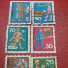 Sellos: SELLO ALEMANIA R. FEDERAL MTDOS/1970/VOLUNTARIADO/BOMBERO/ENFERMERA/NATACION/SOCORRISTA/RESCATE/SANI. Lote 244872210