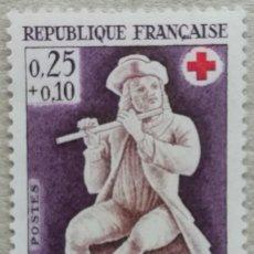Timbres: 1967. FRANCIA. 1540. FLAUTISTA, PIEZA DE MARFIL, MUSEO DE DIEPPE. A BENEFICIO DE LA CRUZ ROJA. USADO. Lote 259770825