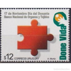 Sellos: ⚡ DISCOUNT URUGUAY 2002 THE 24TH ANNIVERSARY OF THE NATIONAL ORGANS AND TISSUE BANK MNH - TH. Lote 289982598