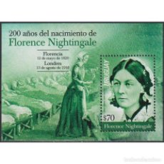 Sellos: ⚡ DISCOUNT URUGUAY 2020 THE 200TH ANNIVERSARY OF THE BIRTH OF FLORENCE NIGHTINGALE MNH - THE. Lote 296062063