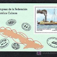 Sellos: CUBA HB 73 SIN CHARNELA, BARCO, 8º EXPOSICION FILATELICA NACIONAL, . Lote 9121161