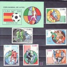 Sellos: CUBA 2249/54, HB 65 SIN CHARNELA, ESPAÑA 82 COPA DEL MUNDO DE FUTBOL, . Lote 10562690