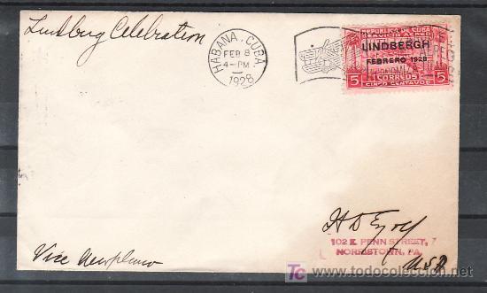 CUBA AEREO 2 SOBRE MATº CONMEMORATIVO DEL VUELO LINDBERGH HACIA AMERICA DEL SUR, 8/2/1928, LLEGADA (Sellos - Extranjero - América - Cuba)
