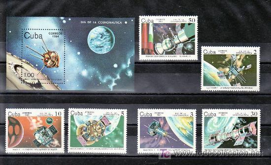 CUBA 2538/43, HB 80 SIN CHARNELA, ESPACIO, SATELITE, DIA DE LA ASTRONAUTICA, (Sellos - Extranjero - América - Cuba)