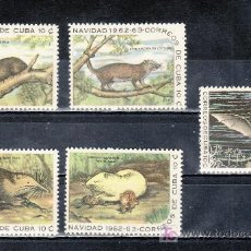 Sellos: CUBA 652/6 CON CHARNELA, NAVIDAD, FAUNA, MAMIFEROS . Lote 19511822