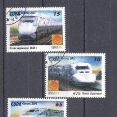 Sellos: CUBA, 2001, NUEVOS, PREOBLITERADOS, SIN CHARNELA- TRENES JAPONESES. Lote 21883645