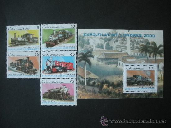 CUBA 2000 IVERT 3863/7 Y HB 160 *** EXPOSICIÓN FILATÉLICA INTERNACIONAL - LONDRES 2000 - TRENES (Sellos - Extranjero - América - Cuba)