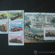 Sellos: CUBA 2000 IVERT 3863/7 Y HB 160 *** EXPOSICIÓN FILATÉLICA INTERNACIONAL - LONDRES 2000 - TRENES. Lote 25863325