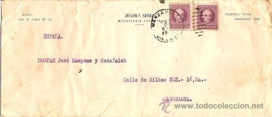 SOBRE CIRCULADO MANZANILLA CUBA A BARCELONA AÑO 1942 - DE ARTURO ROVIRA MANDATARIO JUDICIAL (Sellos - Extranjero - América - Cuba)