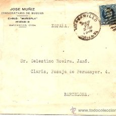 Sellos: SOBRE CIRCULADO MANZANILLA CUBA A BARCELONA AÑO 1949 - CENSURADA -DE JOSÉ MUÑIZ CONSIGNATARIO BUQUES. Lote 24692904
